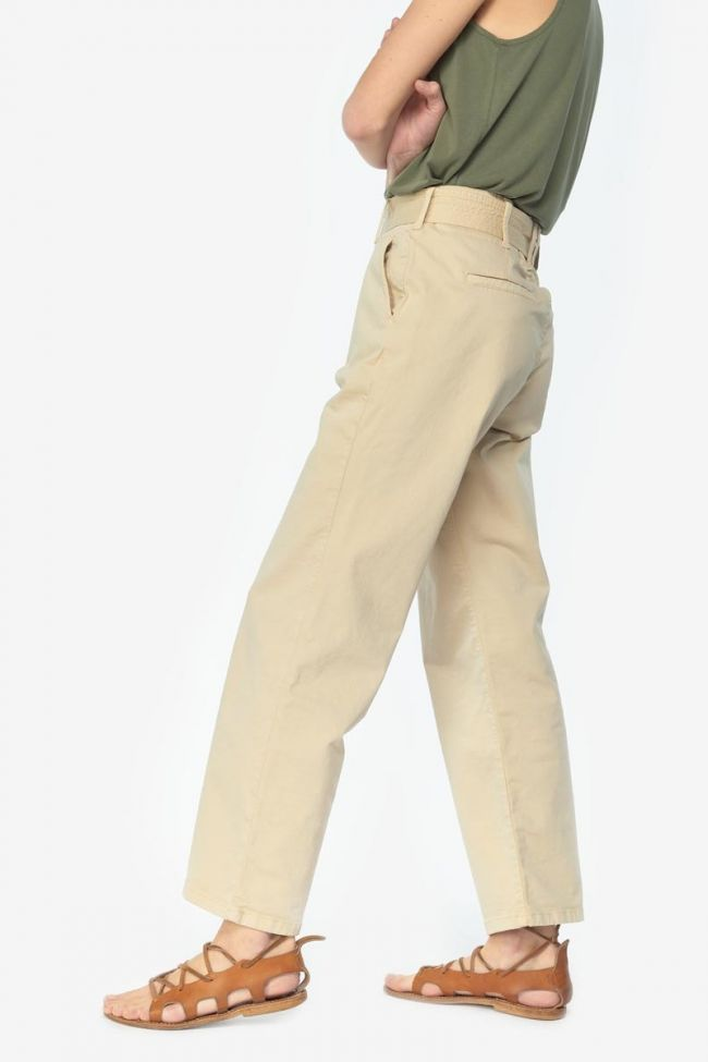Beige Serena high waisted chino trousers