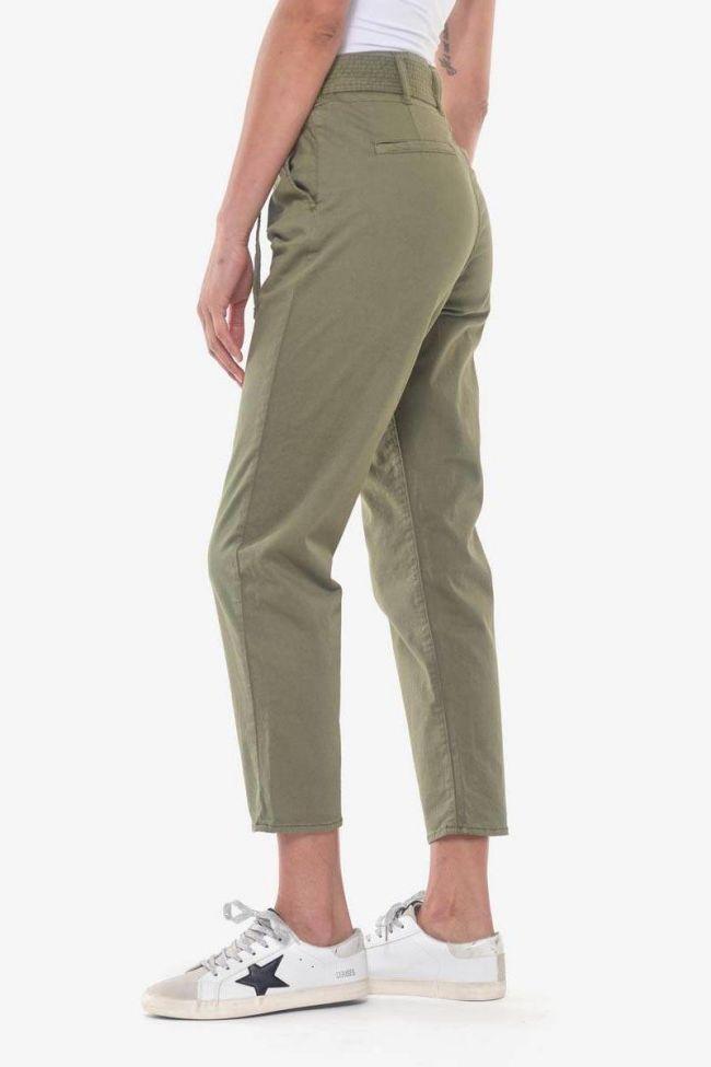 Pantalon chino taille haute Serena kaki