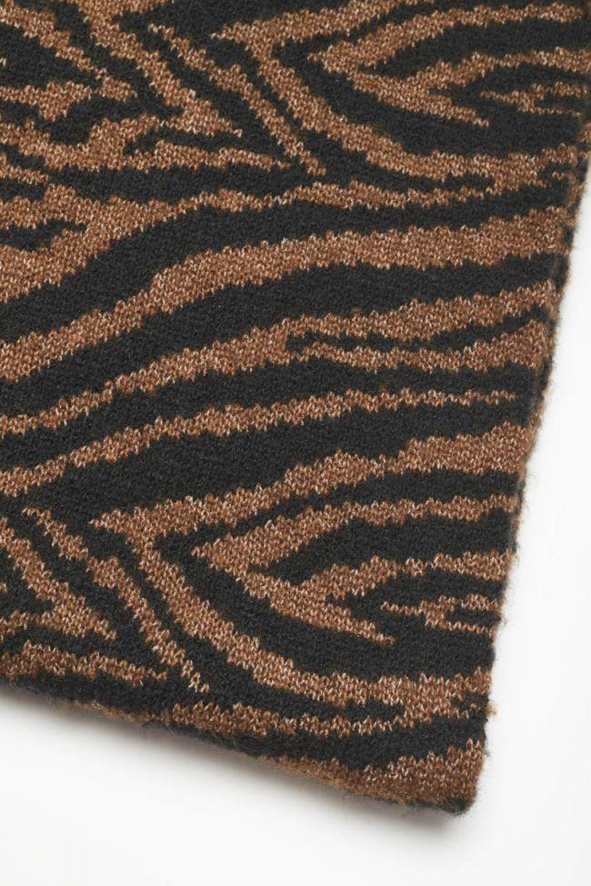 Echarpe Bra à motif zèbre marron