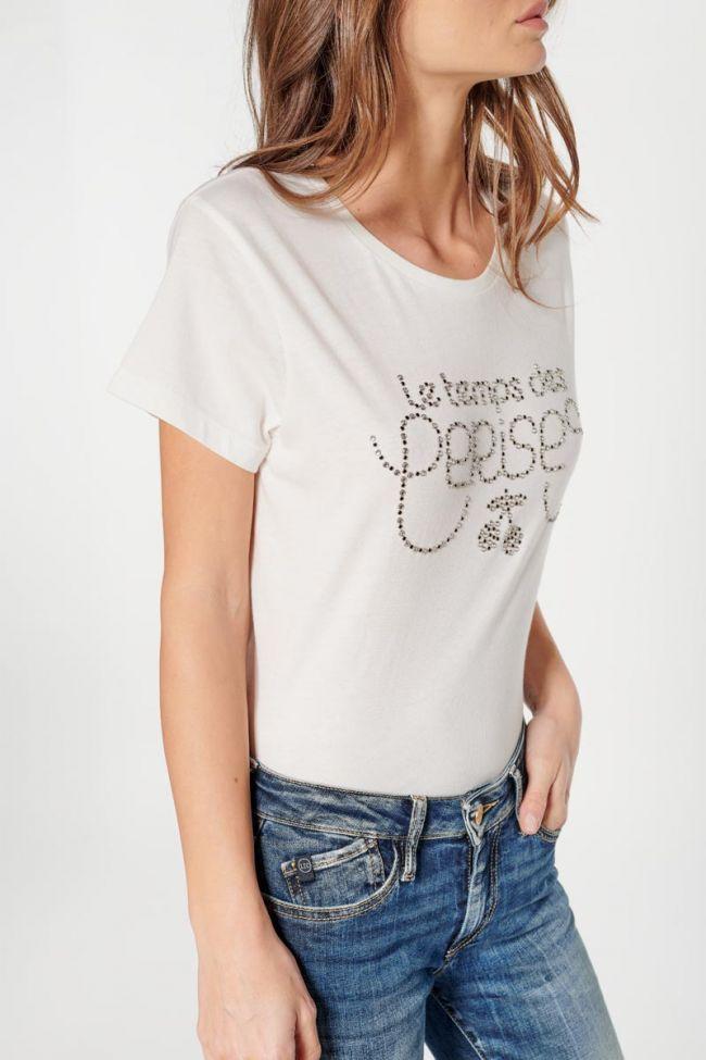T-shirt Diamond crème à strass