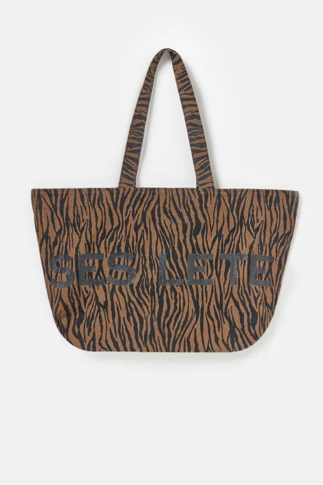 Brown zebra Dory canvas bag