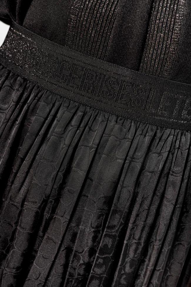 Jupe Mitha à motif croco en jacquard noir