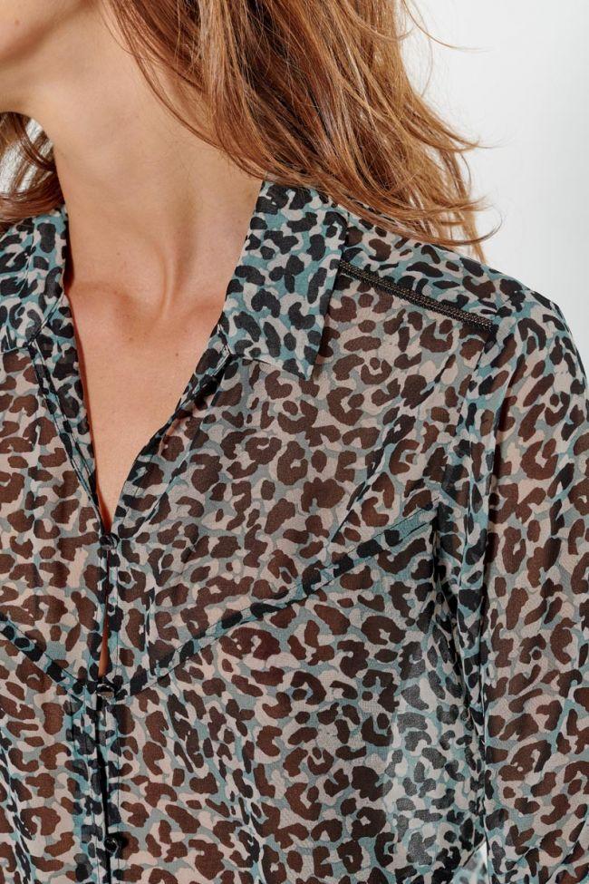 Blue leopard Nolan blouse