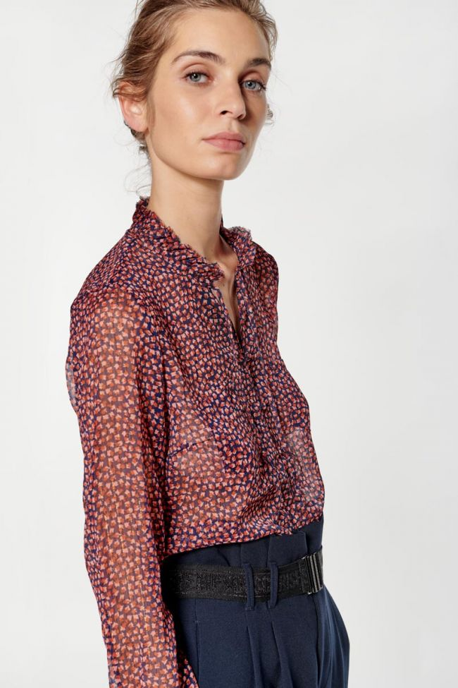 Pink and blue patterned Ribble blouse