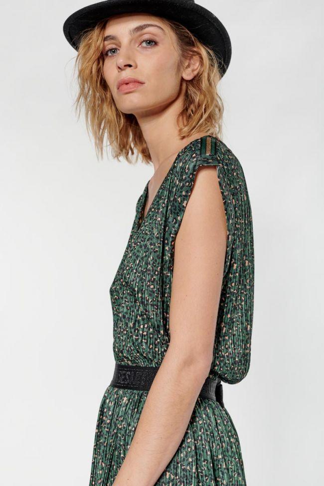 Green leopard Roxie top