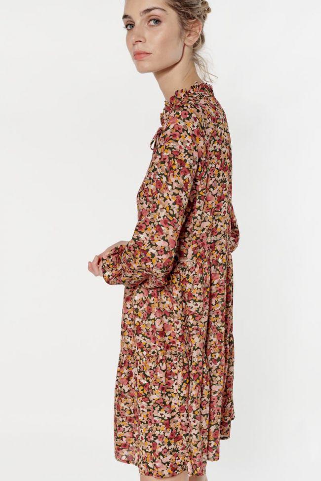Robe Sun à motif fleuri rose