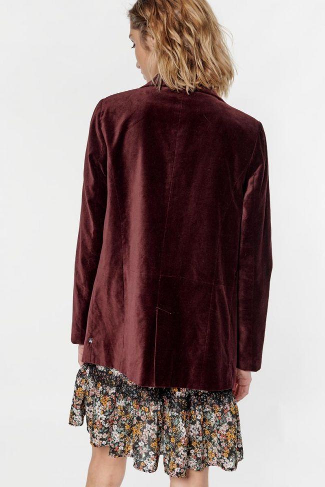 Veste blazer Tamise en velours bordeaux