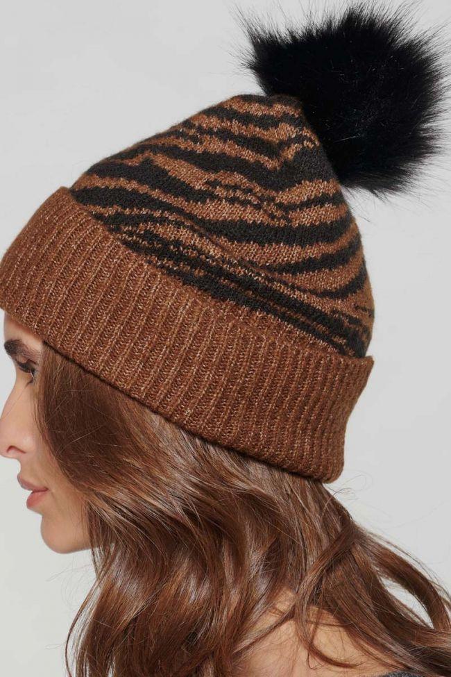 Bonnet Zeb à motif zèbre marron