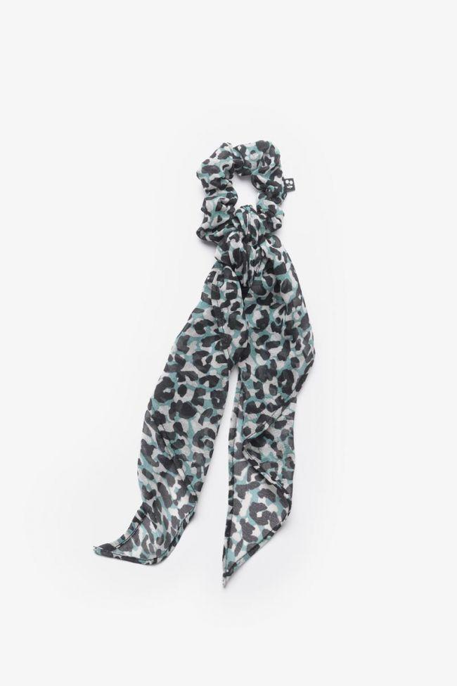 Chouchou foulard Auragi léopard bleu
