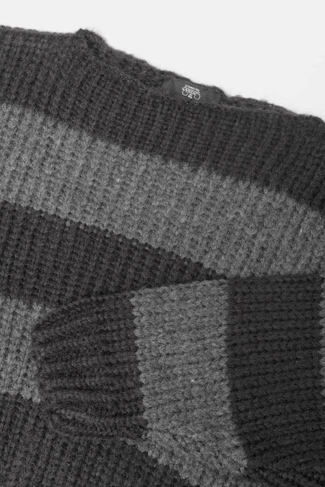 Black and charcoal grey striped Colombegi pullover