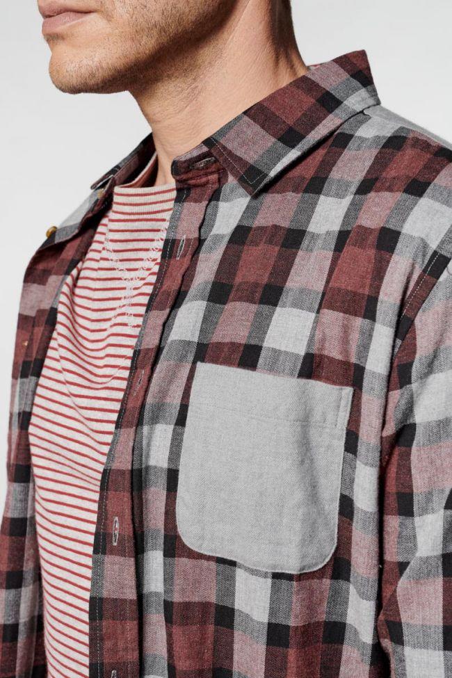 Chemise Balf à carreaux bordeaux et gris