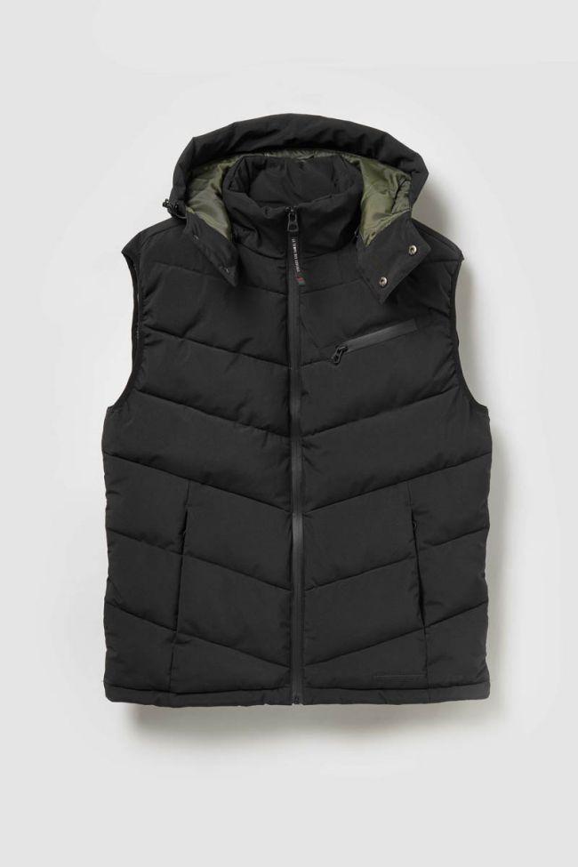 Black sleeveless Bizor down vest