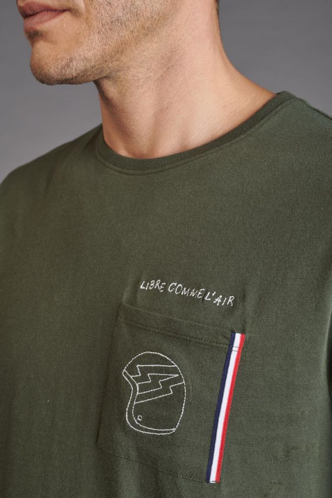 Embroidered Mitro khaki t-shirt
