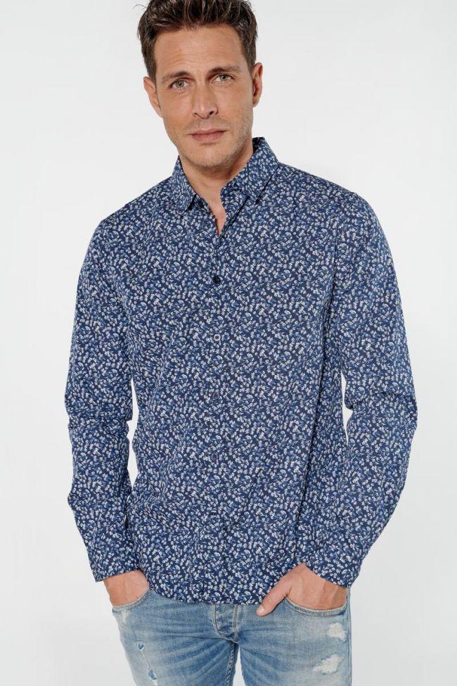 Chemise Sobel bleue marine à motif fleuri