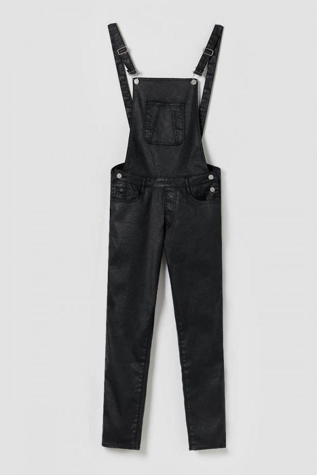 Black coated denim Ali overalls