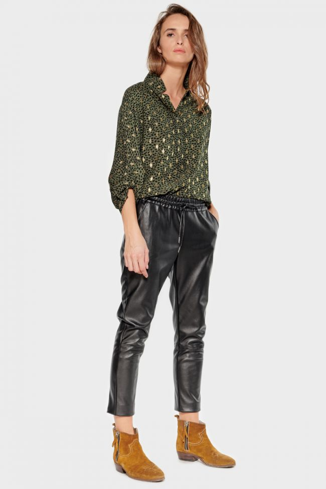 Pantalon en simili cuir Minet noir