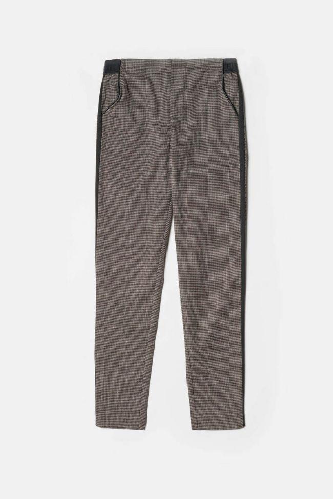 Pantalon Naga marron à motif pied de poule