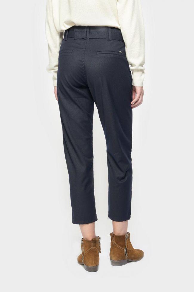 Pantalon chino taille haute Serena bleu marine à paillettes