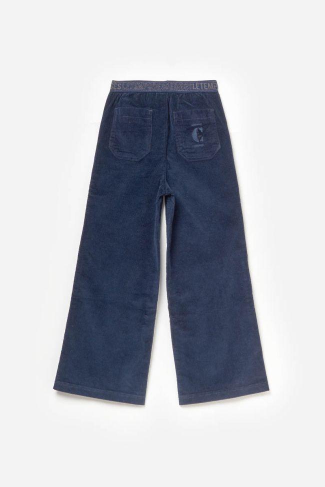 Pantalon taille haute droit Millgi en velours bleu marine