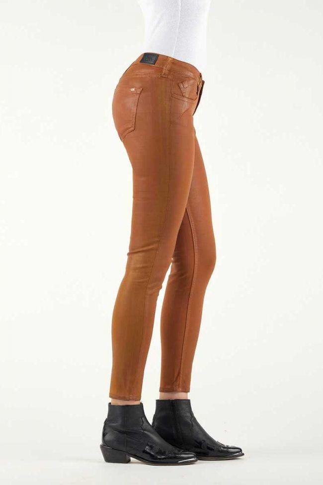 Jeans 300/16 Slim Effet Cuir Cognac