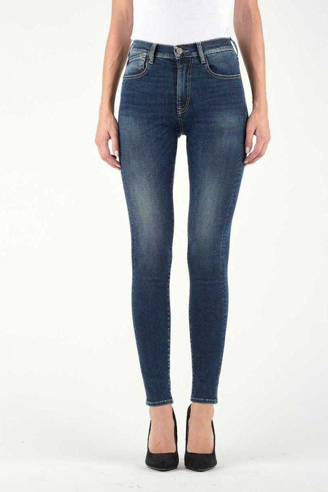 Jeans Power Skinny Taille Haute Bleu