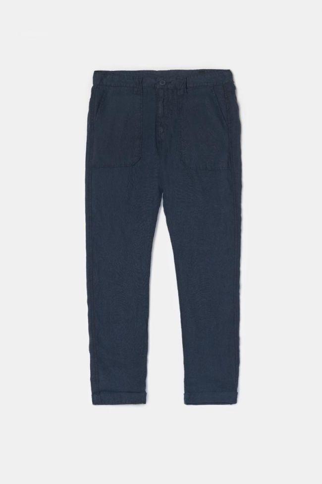 Pantalon Nesrone en lin bleu marine